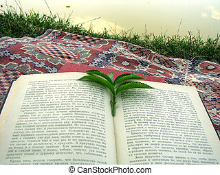 leafs like a bookmark on nature background