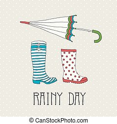 Colored rubber boots with umbrella on a background of polka...
