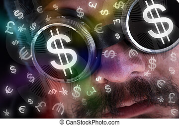 Man looking at flying currency icons