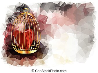 abstract heart in golden cage on multicolor background