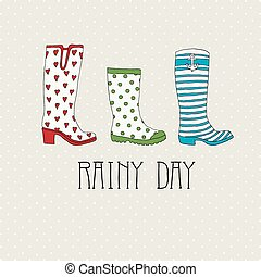 Colored rubber boots vector set on a background of polka...