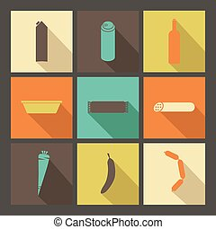 Food. Set of bright icons in flat style
