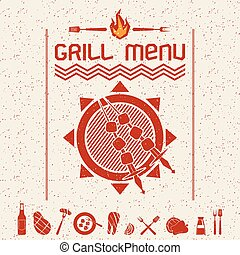 Grill menu emblem and icons dark red - Cover grill menu and...