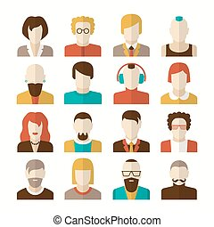 Stylized character people avatars in flat style for social...