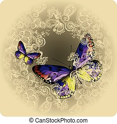 Vintage background with ornament and butterflies, hand-drawing.