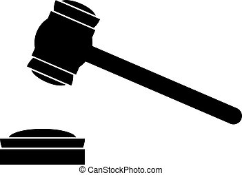 Judge gavel icon on white background. Vector illustration.
