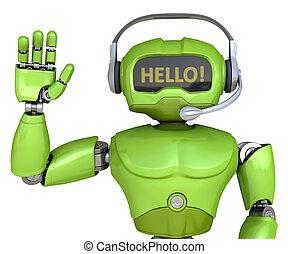 Cute robot with headphones