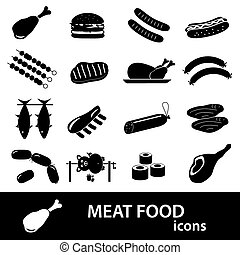 meat food icons and symbols set