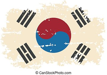 South Korea grunge flag. Vector illustration.