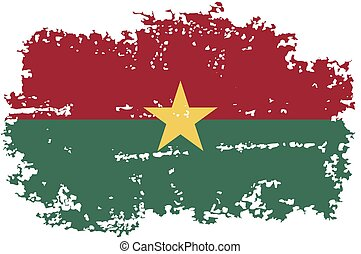 Burkina Faso grunge flag. Vector illustration.