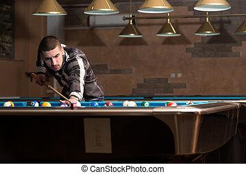 macho, piscina, jugador,