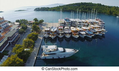 Pomena in National Park Mljet, Croatia - Copter aerial view...