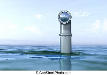 agua, periscopio, sobre
