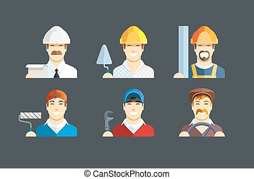 Building occupation Set of flat icons Eps10 vector...
