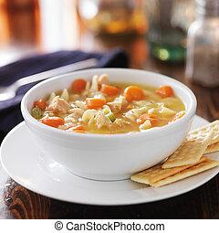 quentes, tigela, de, galinha, noodle, sopa,