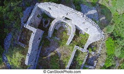 Early Christian ruins on top of the hill - Copter aerial...