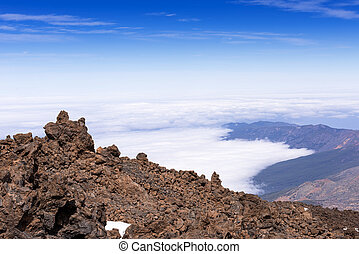 On top of Taide volcano above clouds Tenerife - On top of...