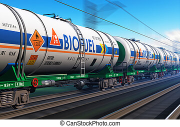 Freight train with biofuel tankcars - Creative abstract...