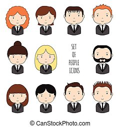 Set of colorful office people icons. Businessman....
