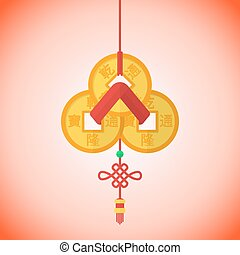 vector flat design chinese new year three feng shui coins...