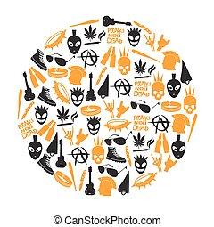 various black punk icons set in circle eps10