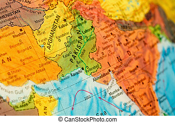 Map of Pakistan and Afghanistan close-up - Map Afghanistan...