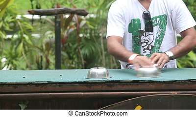 parrot show in bird park - parrot guesse where the dice in...
