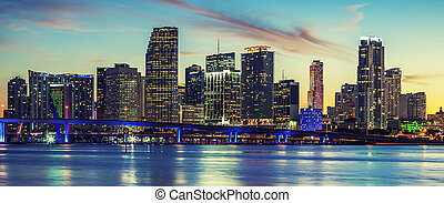 Panoramic view of Miami, special photographic processing