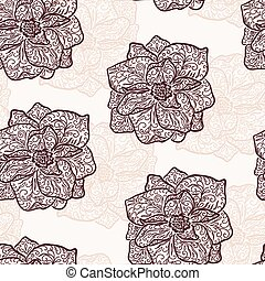 Vintage floral illustration of blooming flowers Rose...