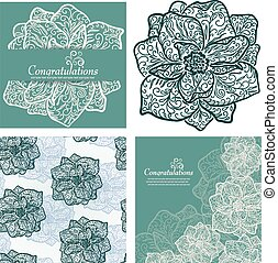 Set of backgrounds with flowers Vector illustration