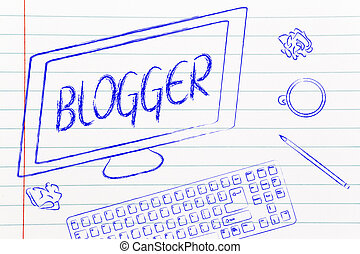 Blogger text on computer screen, desk with keyboard and...
