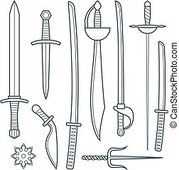 vector dark gray outline cold medieval weapons set with sword falchion glaive steel dagger dirk whiner saber saber sword katana bokken trident sai shrunken star