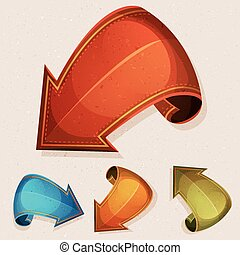 Cartoon Circus Design Grunge Arrows - Illustration of a set...
