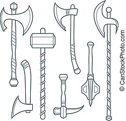 vector dark gray outline cold medieval weapons set with ax...