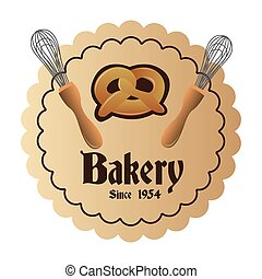 bakery icons - a colored label with a pretzel and a pair of...