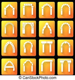 Flat icons vector collection for archway - Set of square...