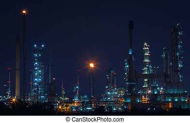 beautiful night scene landscape of oil and gas refinery...