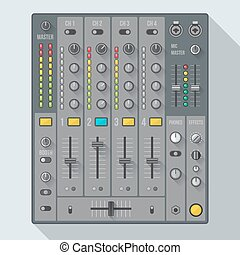 vector flat design colored sound dj mixer with knobs and sliders illustration witch shadows