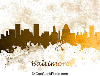 Baltimore USA - Watercolor art print of the skyline of...
