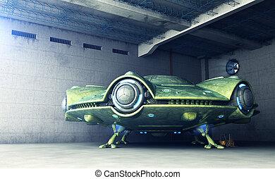 área, 51.UFO, es, en, Un, hangar, ,