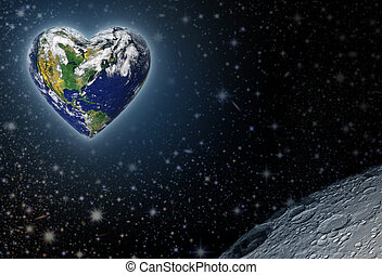 Heart Earth - The planet earth shaped as a heart with the...