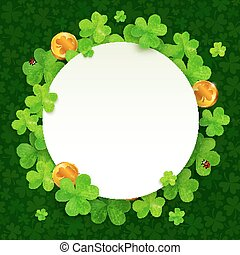 Green clovers and golden coins Saint Patricks Day frame -...
