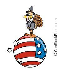 Turkey on USA Globe Vector