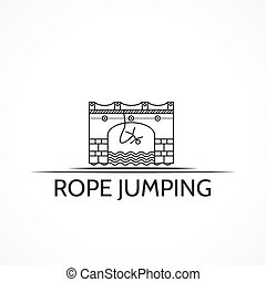 Vector illustration with black line icon and text for rope...