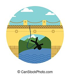 Flat vector icon for extreme sport. Rope jumping. - Person...