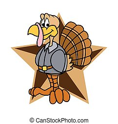 Funny Turkey Character Retro Star Element Vector Graphic...