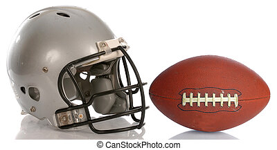 protective football helmet and leather football with...