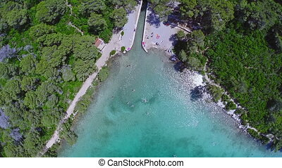 Aerial copter shoot of the sea lake in National park, Mljet...