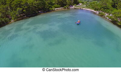 Aerial copter shoot of the sea lake in National park, Mljet