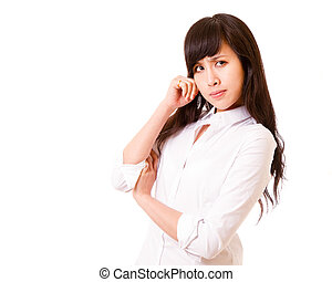 Asian woman deep in thought - Chinese office lady in white...